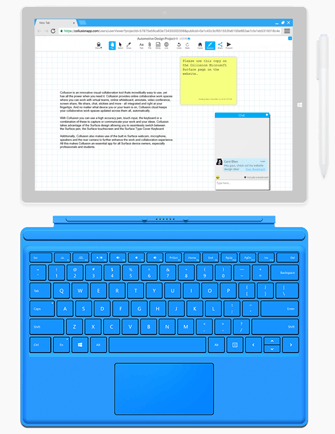 Using the Surface type Cover Keyboard to write text, create stickies/post it notes and chat with collaborators