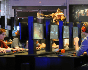 A room full of gamers playing World of Warcraft